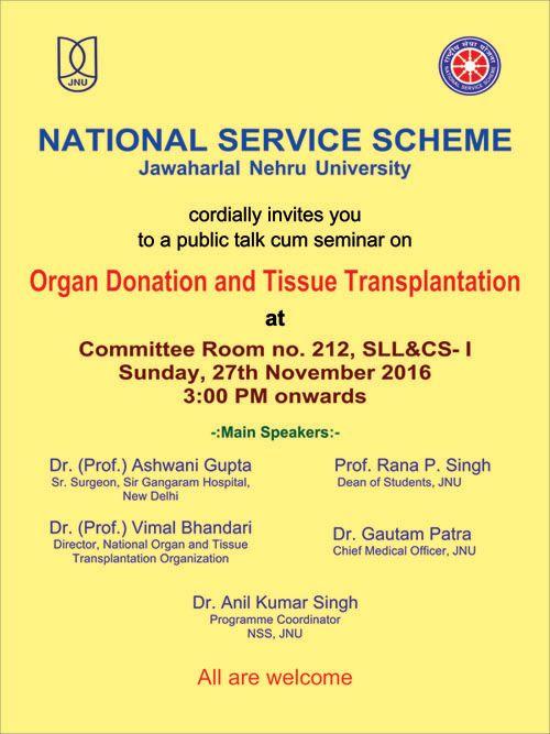 Nssnational services scheme welcome to jawaharlal nehru university a public talk cum seminar on altavistaventures Gallery